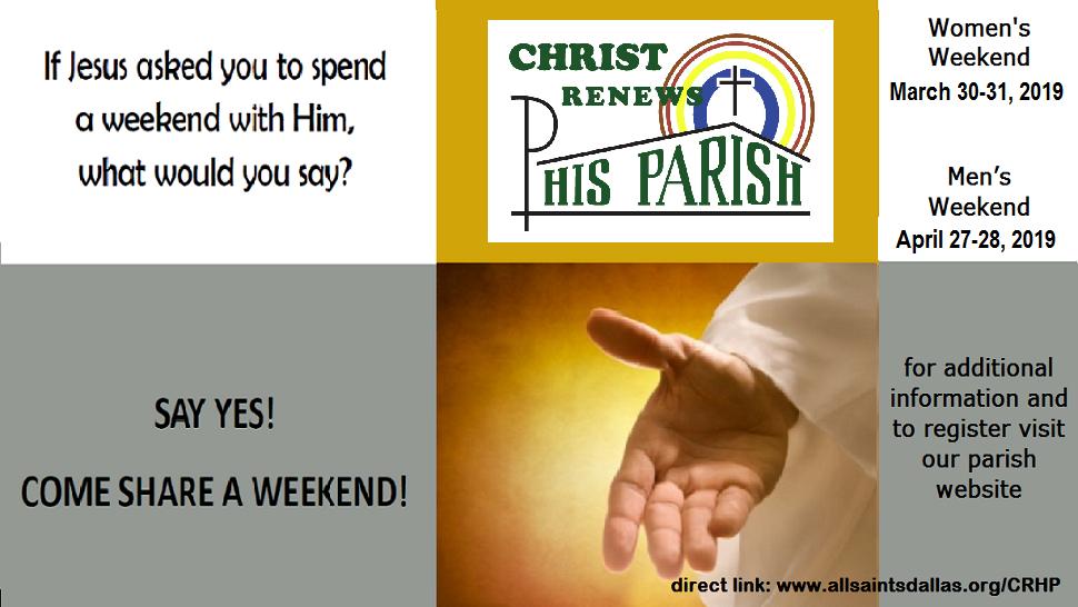 Christ Renews His Parish (CRHP)  - Men's Weekend