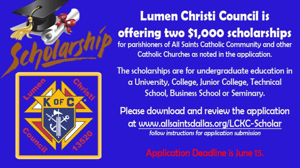 Lumen Christi Council Knights of Columbus Scholarships